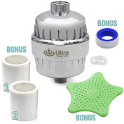 Ultra Shower Filter With 2 Replaceable 10 Stage Hard Water Purifier Cartridge & Hair Stopper for 1 Year Premium Filtration! Universal Fit. Remove Chlorine, Heavy Metals, Impurities, Harmful Substances
