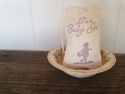 Its a Baby Girl Shower Favour Bag Muslin Bag Party Favour Gift Bag Rustic Baby Shower Thank You