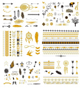 Premium Temporary Tattoos - 125+ Small Tattoos Fake Metallic Minimalist Tattoo Shimmer Jewellery Inspired Boho Designs in Gold, Black, Silver