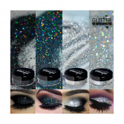 4pc GlitterWarehouse Holographic Loose Glitter Eye Shadow Powder Platinum Diamond Silver, Diamond Black Smoky