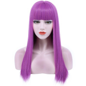 Karlery 60cm Beautiful Women's Fluffy Natural Straight Fashion Purple Flat Bang Cosplay Wig for Halloween Costume Party