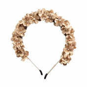 Small Flowers Full Wreath Headband - Tan