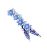 Micrkrowen Blue Flower Hair Clip(Duckbill Clip)