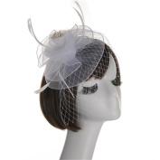 Enioybeauty Flower Hair Clip Fascinators Cocktail Tea Party Hat Feather Mesh Veil