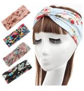 JOKHOO Women's Headbands Elastic Turban Head Wrap Floral Style Hair Band