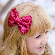 Party Hair Bows Clips,WuyiMC Bling Sparkly Glitter Sequins Hair Bows Alligator Hair Clips-Nylon Mesh Ribbon Bowknot Hairpins for Baby Girls Kids Children