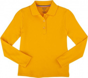 French Toast School Uniform Girls Long Sleeve Polo with Picot Collar - X-Small 4-5, Gold