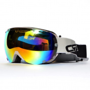 CRG 100% UV Protection Mirror Like Outdoor Sport Motorcycle Riding Helmet Cross-country Cross Country Off-road Skiing Ski Double Lens Anti-Fog Windproof Snow Goggles Eye Piece Wear Christmas Gift Blue Red Black Green Yellow Grey UV Lens Silver Lens Col ..