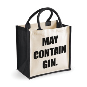 Medium Jute Bag May Contain Gin Black Bag Mothers Day New Mum Birthday Christmas Present