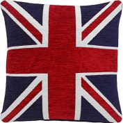 4 X THICK HEAVYWEIGHT CHENILLE RED WHITE BLUE UNION JACK 46cm CUSHION COVER PILLOW CASE SHAM