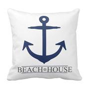 Generic Custom Nautical Beach House Anchor pillow. Navy Blue Cotton Decorative Pillowcase 46cm Throw Pillowcase Cushion Cover Twin Sides