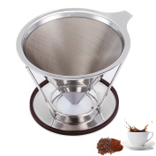 Coffee Dripper Stainless Steel Coffee Filter Pour Over Permanent Paperless Reusable Dual Filtration Coffee Cone with Cup Holder Stand for Home Office Coffee Maker Brewer 4-6 Cups