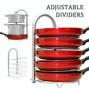 WiseLife Height Adjustable Pan Pot Organiser Rack, 5-Tier Stainless Steel,10, 11 & 30cm Heavy Duty Kitchenware Cookware Pot Rack Holder Kitchen Cabinet Countertop Storage Solution