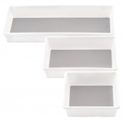 KD Organisers Drawer Organiser Trays for Kitchen or Desk, Set of 3 Plastic Containers