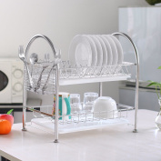 NEX Dish Rack Stainless Steel Two Tier Draining Rack Rustless Storage Rack with Chopstick Holder