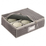China Cup Storage Chest - Deluxe Quilted Microfiber (Light Grey) (33cm H x 39cm W x 13cm D)