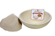 (25cm x 10cm ) Premium Round Banneton Basket with Liner - Perfect Brotform Proofing Basket for Making Beautiful Bread