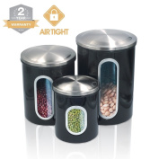 Kitchen Food Storage Canister Set - For Ideahome Stainless Steel Organisation Canisters Set of 3 Containers, with Airtight Lid, Great for Home Kitchen Counter Storage and Decor