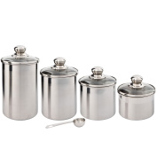 Canister Set Stainless Steel - Beautiful Canisters for Kitchen Counter - 4-Piece Small Sized with Glass Lids and 20 ml Measuring Scoop - Tea Coffee Sugar Canisters by SilverOnyx - 4pc Glass Lids