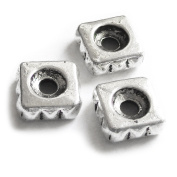 Heather's cf 135 Pieces Silver Tone Square 7mm Round Beads with 3 mm Small Hole Findings Jewellery Making
