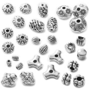 Heather's cf 215 Pcs Combination Classic Finding Zinc Alloy Tibetan Silver Small Hole Beads Jewellery Findings 3