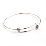 Kissitty 20-Piece Expandable Stainless Steel Blank Bangle Bracelet 5.6cm Iner Dia. Adjustable Wire Bracelet for DIY Jewellery Making