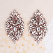 Rhinestone Iron On Patch Motif Applique DIY Crystals Patch Rhinestone Hot Fix Applique Sewing Appliques For Shoes Rose gold-Pack- 2 Pieces