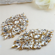 Rhinestone Iron On Patch Motif Applique DIY Crystals Patch Rhinestone Hot Fix Applique Sewing Appliques For Shoes Pack - 2 Pieces-Gold
