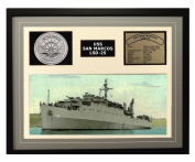 Navy Emporium USS San Marcos LSD 25 Framed Navy Ship Display Grey