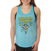 Wonder Woman Juniors' Classic Comic Flying Logo Sleeveless Snow Wash Shirttail Graphic Tank Top With Racer Back