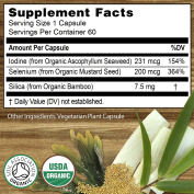 Organic Selenium 200mcg Iodine and Silica contributing to normal Thyroid and Immune function – 2 Month Supply - Whole Food Supplement - Certified Organic by Soil Association