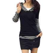 Unique Bargains Women's Pullover Striped Hooded Long Sleeve Stretch Black White XS Shirt