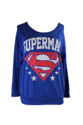 Superman Juniors Blue Logo Graphic French Terry Sweatshirt XL