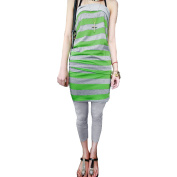 Allegra K Juniors Horizontal Stripes Strapless Skinny Tracksuits