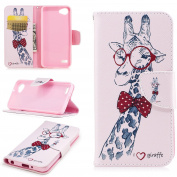 EC-touch Simple Beautiful Colourful Flower [Magnetic] Style PU Leather Case Wallet Flip Stand [Flap Closure] Cover for LG Q6/LG G6 MINI