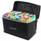 Caliart 100 Colours Art Markers Sketch Twin Marker Pens Highlighters with Carrying Case for Drawing Writing Colouring and Underlining