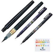 "(Variety Pack Bundle Assortment) Tombow Fudenosuke Brush Pen Soft Tip & Hard Tip + Pentel Fude Brush Pen, Medium (XFL2L) with Refill & ""Wasabi"" Sticky Note!!!"