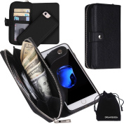 iPhone 7 Case, Zipper Wallet Type Flip Folio Premium Leather Credit Card Holder Case with Wrist Strap - Detachable Magnetic Back Cover for iPhone7 (12cm ) - Black