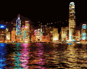 Pack of 3 Brushes 24 Paints, Victoria Harbour Hong Kong Night View, DIY Oil Painting Beginner Paint by Number Art Painting Kits Canva Paintbrush and Paint Set for Adults Kids Digital Canvas Paintings