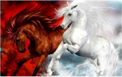TianMai Hot New DIY 5D Diamond Painting Kit Crystals Diamond Embroidery Rhinestone Painting Pasted Paint By Number Kits Stitch Craft Kit Home Decor Wall Sticker - Red Horse White Horse, 40x30cm