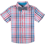 G-Cutee Little Boys Blue and Red Multi Cheque Shirt with DetachableChambray Bowtie, Available in Size 4-7
