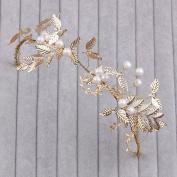 Yilanair Headbands for Women's Hair Wedding Bridal White Pearl Flower Tiara Crown Headband