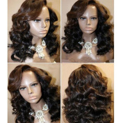 Human Hair Wigs for Black Women Glueless Lace Front Wig Short Human Hair Wavy Wigs with Baby Hair Natural Colour