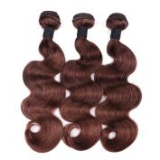 IUEENLY Brazilian Body Wave 3 Bundles Medium Brown 8A Unprocessed Virgin Brazilian Remy Human Hair Extensions #4 Light Brown Colour