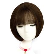 TOP-MAX Caramel Brown Short 30cm Bob Natural Wavy With Bangs Heat Resistant Cosplay Wig Fashion Lolita Lady