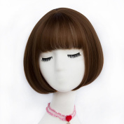 TOP-MAX Flaxen Brown Short 30cm Bob Natural Wavy With Bangs Heat Resistant Cosplay Wig Fashion Lolita Lady