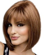Graceful and Beautiful Women Wigs Brown Short Bob Straight Natural Hair Wigs with See-through Bangs 012BN