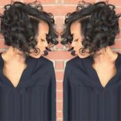 Sexy Fashionable Rose Net Short Curly Black Wigs QHQ-ShiningLife 010BK