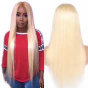 Oulaer Malaysian Blonde Human Hair Wig Siky Straight Lace Front & Full Lace Wig Glueless #613 Hair Colour Pre Plucked 25cm Full Lace Wig