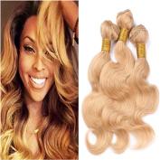 Tony Beauty Hair #27 Honey Blonde Virgin Brazilian Human Hair Weave Bundles 25cm - 80cm Body Wave Strawberry Blonde 3Pcs/4Pcs Human Hair Extensions Double Wefts